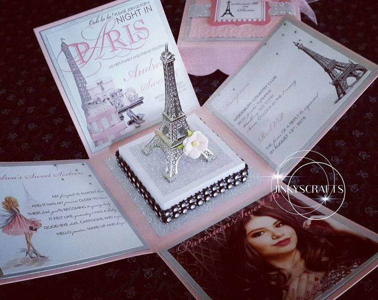 Unique Paris Themed Exploding Box Invitation with Eiffel Tower Centerpiece. Completely customizable for Quinceanera Night in Paris, Paris Themed Bridal Shower or Paris Themed Weddings