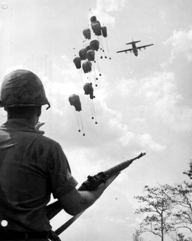 Supply Drop, Operation Junction City, 1967. Operation Junction City was the largest U.S. airborne operation since WWII's Operation Market Garden and was the only major airborne operation of the Vietnam War. It began on February 22, 1967 and lasted almost three months with the goal of destroying Vietcong bases and the Vietcong military headquarters for South Vietnam. While American forces captured large quantities of stores, equipment and weapons, it failed to be a turning point in the war.