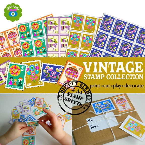 Vintage Stamp Collection Printable & Embellishments from Kitschy Digitals...would be fun for playing post office!