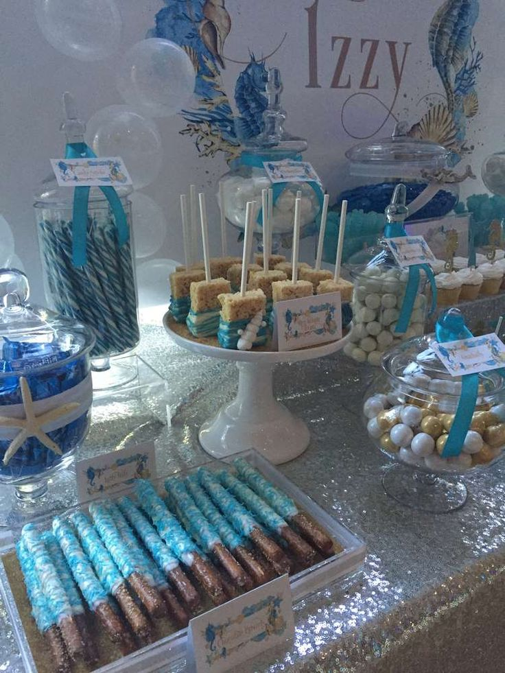 Gorgeous desserts at an under the sea birthday party! See more party ideas at CatchMyParty.com!