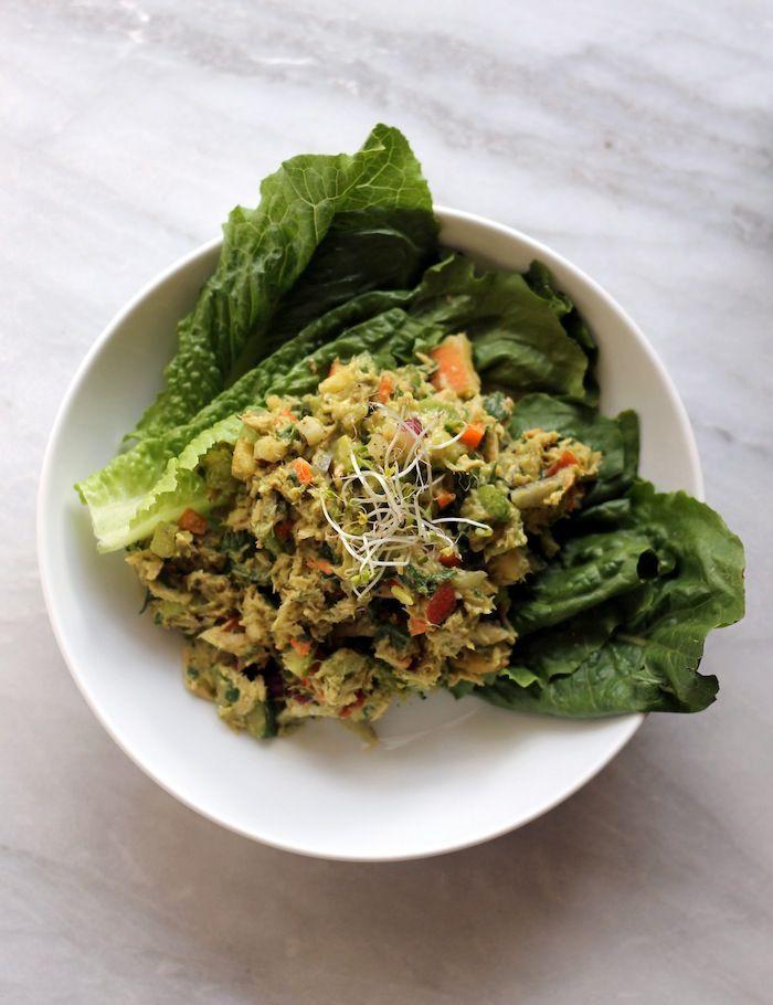 Loaded Veggie Avocado Tuna Salad | POPSUGAR Fitness | Mustard, Apple, Red Onion, Celery, Carrot, Cucumber, Spinach, MARCH