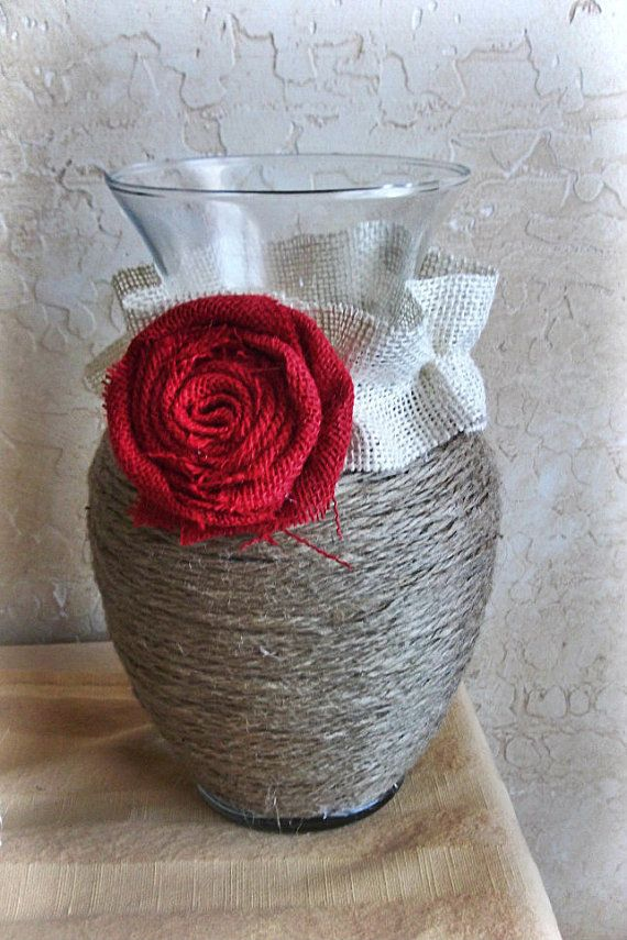 Jute Wrapped Vase with Burlap Rosette by felicitysfancythings, $23.00      My daughter bought me some things from this shop and I love love love them!
