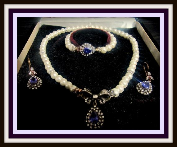 Mothers Day Gift  Pearl jewelry set Wedding Jewelry by lotusscarf