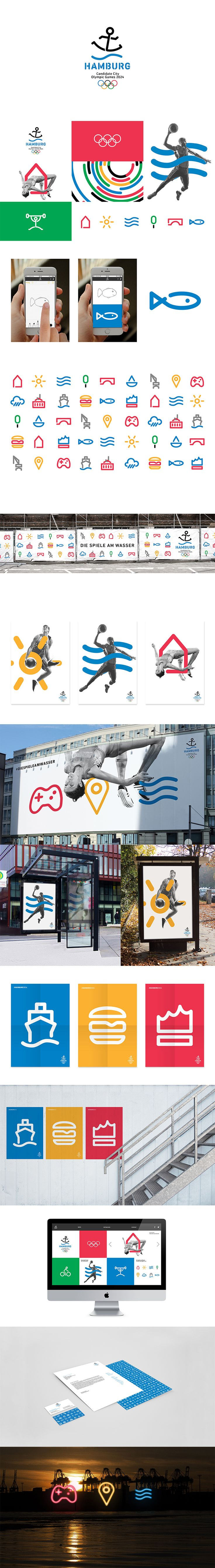HAMBURG2024 CORPORATE DESIGN CONCEPT FOR THE 2024 OLYMPIC GAMES CANDIDACY OF HAMBURG  Copyright 2016 Barbara Madl & Hojin Kang Atelier Cameokid https://brandprototyping.de/2016/05/09/logo_hamburg2024_anchorman/