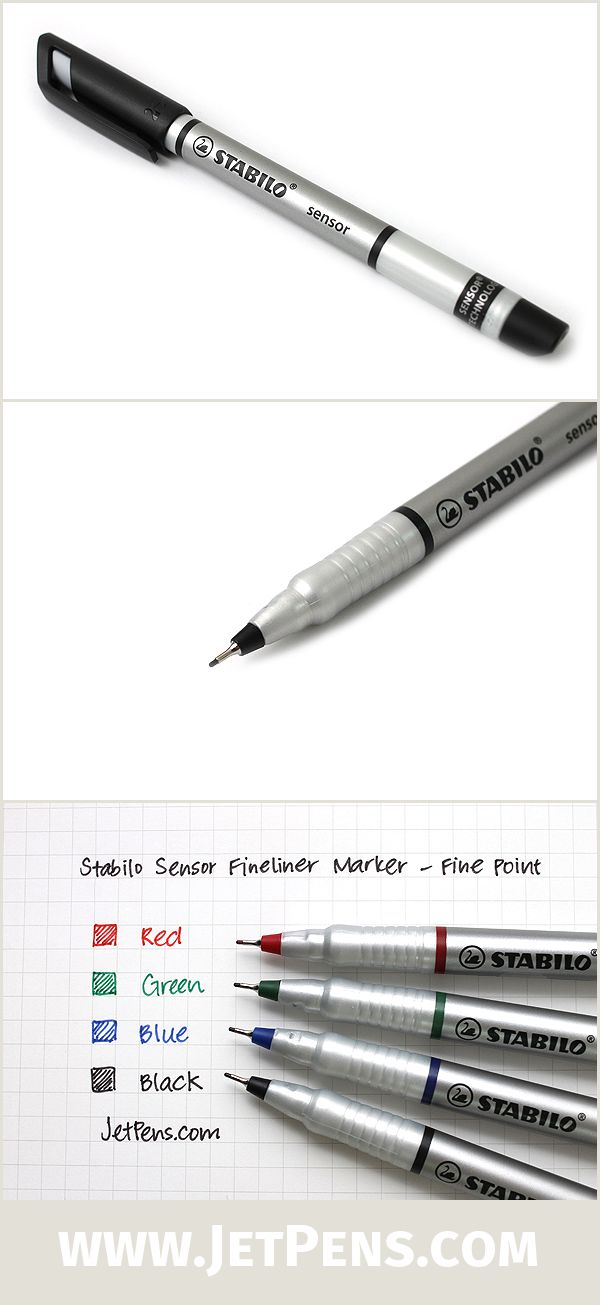 The Stabilor Sensor tip is encased in metal to extend the pen's life and make it suitable for use with rulers and stencils. It also provides a more comfortable writing experience!