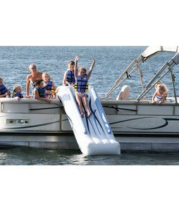 Family fun in a way that you have never before experienced! Put a patent pending RAVE Sports Pontoon Slide onto your pontoon boat and add a new dimension to boating fun. Entertain all ages with this rugged commercial grade inflatable slide that requires only a couple of minutes to set up.Place it over the side gate of the pontoon boat, inflate with the included 12V pontoon boat battery powered inflator/deflator, secure to the exterior rail with 4 attached straps and begin sliding away. 1…
