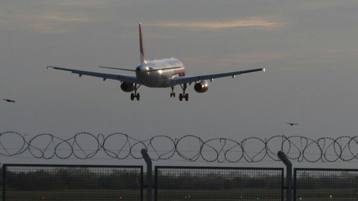 Wizz Air landing at Debrecen Airport, Hungary