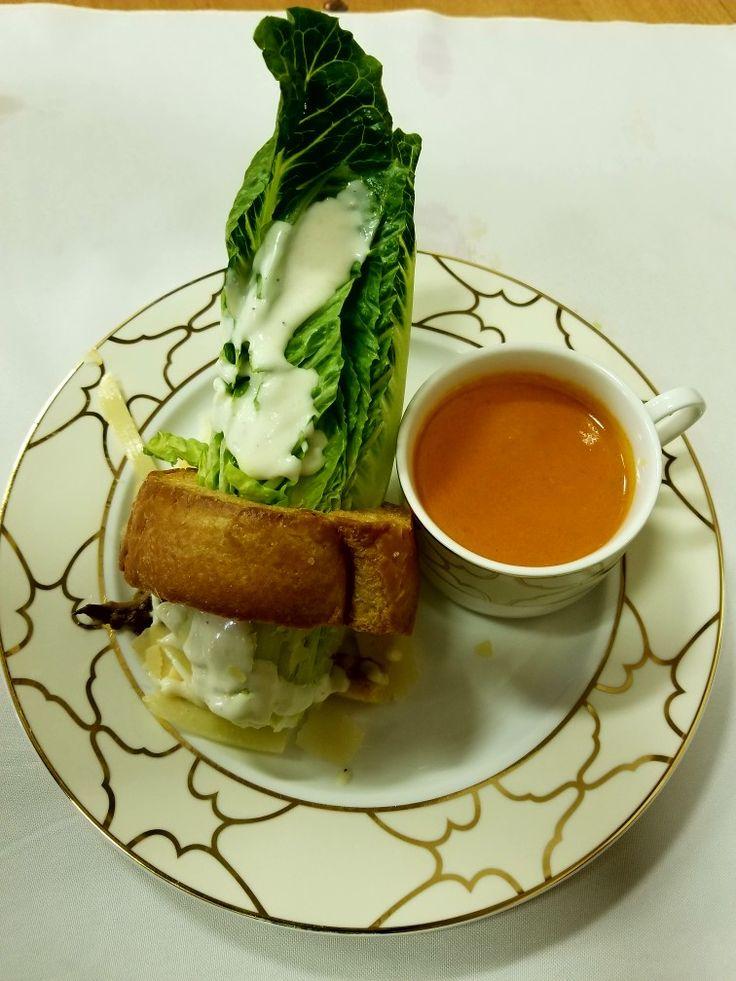 Caesar salad and tomato soup