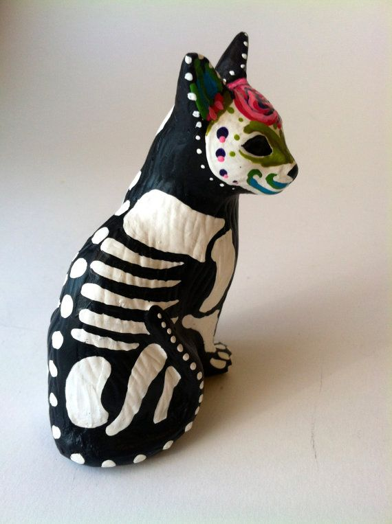 Day of the dead cat sculpture hand painted cat figurine Dia de los muertos pet memorial sugar skull kitten