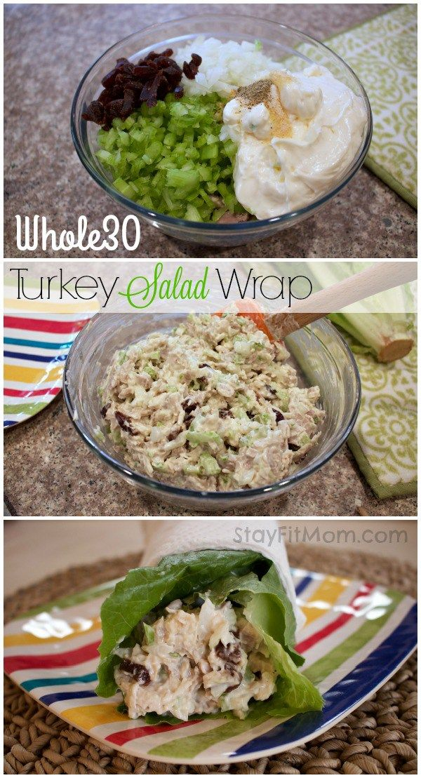 Ditch the carbs and enjoy a healthy Whole 30 Turkey Salad Wrap!