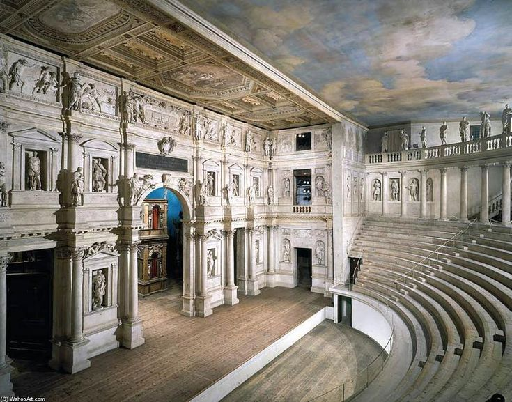 'Vue sur la frons scaenae (3), 1580 de Andrea Palladio (1508-1580, Italy) #sculpture #vue #palladio