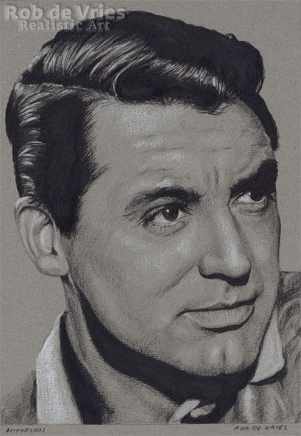 """September 2017, Cary Grant """"Notorious"""", Charcoal, Ink and white chalk on coloured paper. 21 x 15 cm. Available. www.robdevries.com"""
