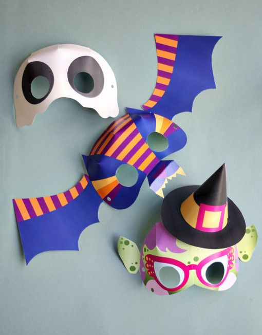 I'm loving these printable paper halloween masks - diy ghost, bat, and witch mask crafts for kids - last-minute halloween costume