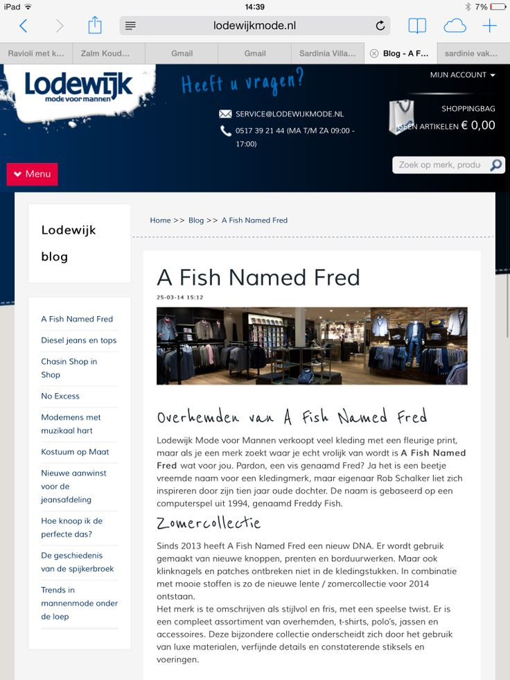 Blog over het merk A Fish Named Fred voor Lodewijk Mode