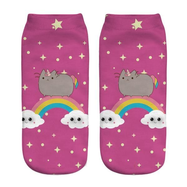 Womens Food Fruit Emoji Print 3D Ankle Socks Licorne Kawaii Cartoon Socks 1 Pair