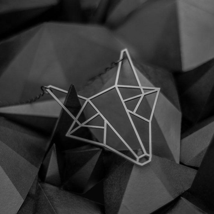 Fox—black distinctive geometrical necklace