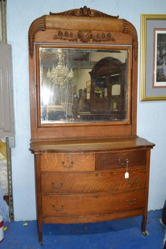 Ca 1890s Antique Tiger Oak Bow Front Chest Of Drawers Dresser Mounted Mirror Ebay