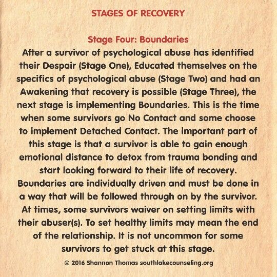 Stage four boundaries:  after a survivor of psychological abuse has identified there despair, educated themselves on the specifics of psychological abuse and had an awakening that recovery is possible, the next stage is implementing boundaries. This is the time when some survivors go no contact and some shoes to implement detach contact. The important part of the stage is that a survivors able to gain enough emotional distance to detox from trauma bonding and start looking forward to their…