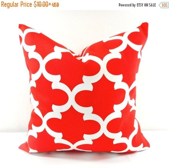 PILLOW SALE Red Moroccan Outdoor Pillow By TwistedBobbinDesigns