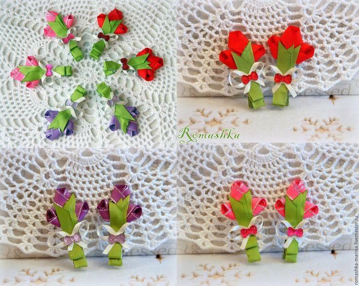 Купить Тюльпаны на зажимах - комбинированный, однотонный, тюльпаны, тюльпаны из ткани, весна, весенние цветы