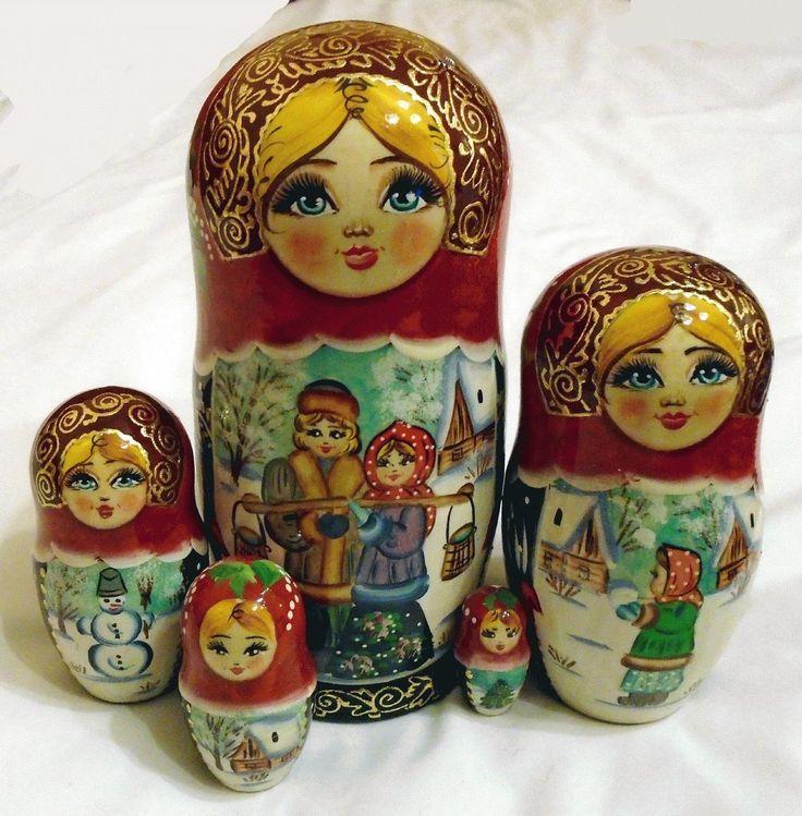 Couple hiver poupees de nidification matriochka babouchka d'art russe en bois 5p in Jouets et jeux, Poupées, vêtements, access., Poupées russes | eBay