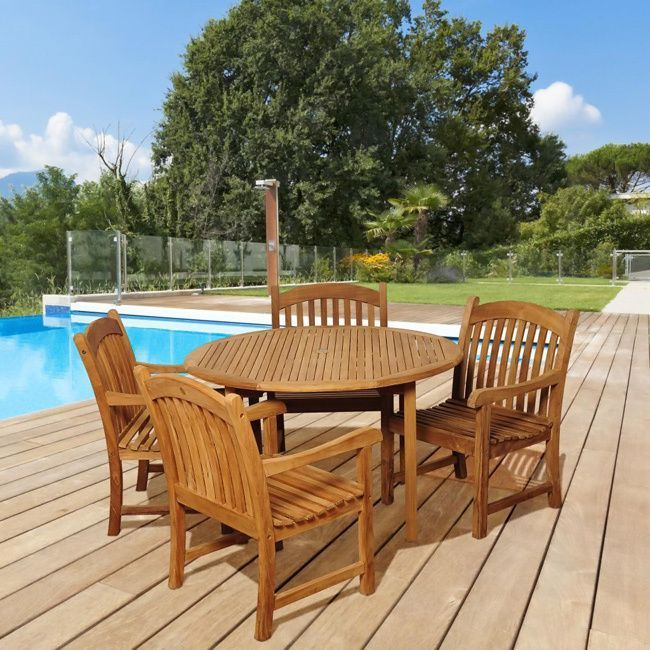 The Lucia five-piece outdoor dining set offers great functionality and a transitional design that is sure to uplift any space. Enjoy your patio in elegance with this alluring patio set featuring a durable teak construction in a weather resistant finish.