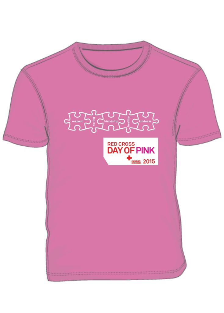 In honour of the original Day of Pink, the Canadian Red Cross Day of Pink brings together schools, workplaces and communities throughout Manitoba to wear the shirt and stand together against bullying.   To make sure your school is part of the Day of Pink movement, you can place the entire T-shirt order for your school.