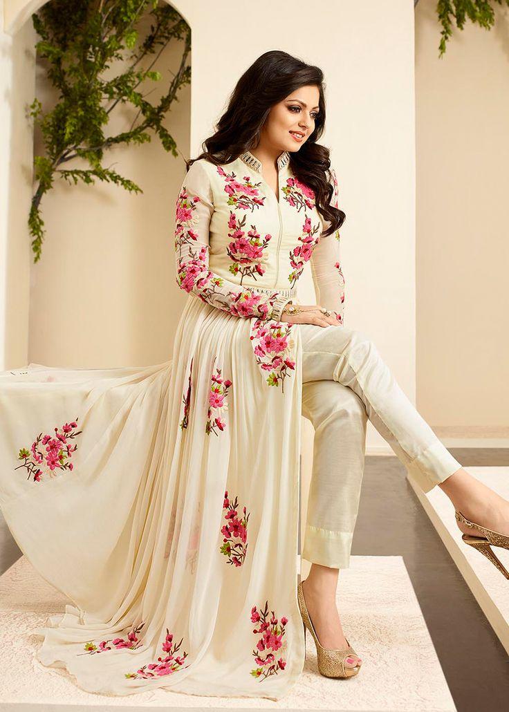 Beautiful Cream Georgette Long Anarkali Dress.