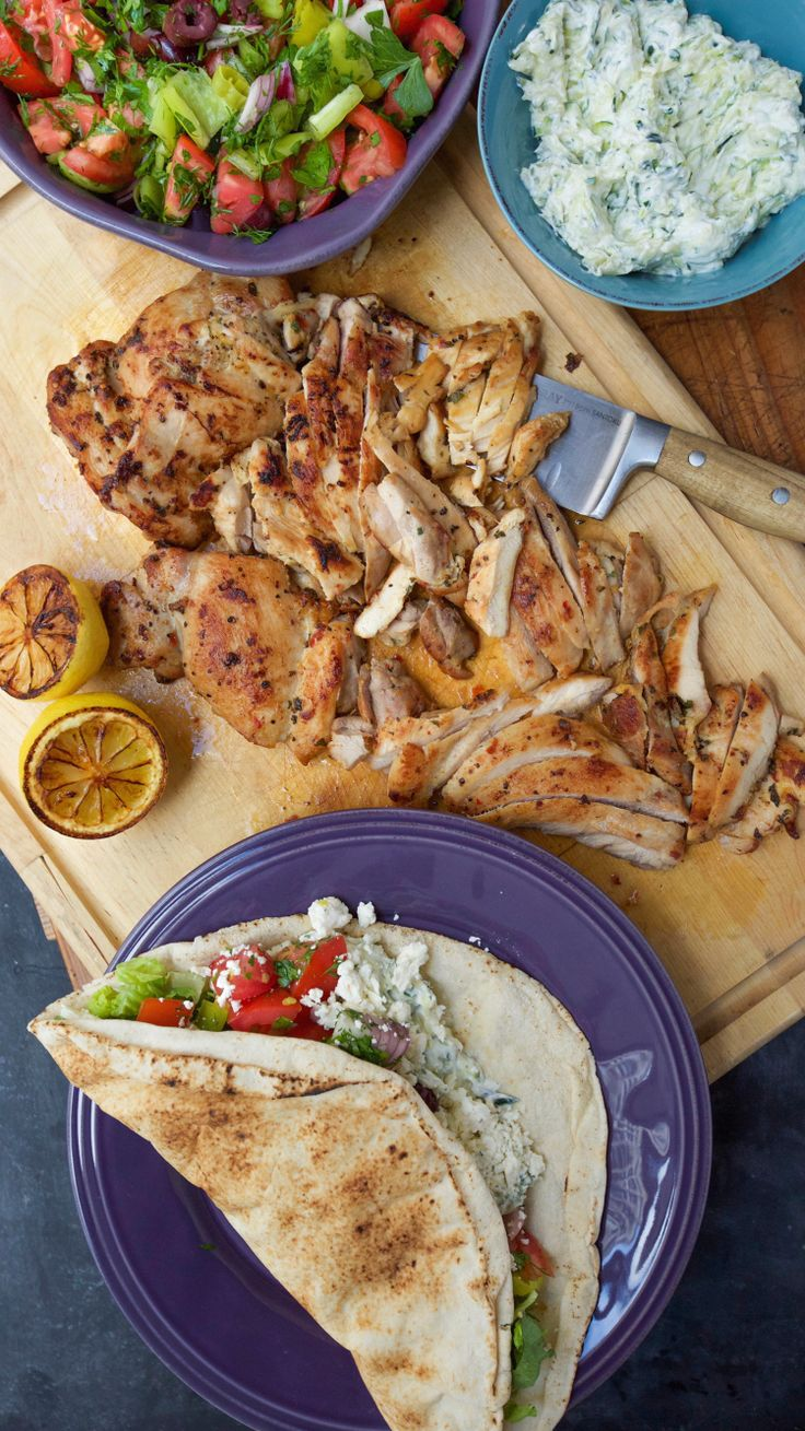 If you're looking for a fresh dinner sandwich, this chicken pita with Greek salsa and zucchini tzatziki will help lighten up the meal.