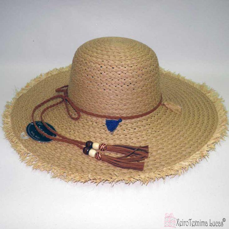 Γυναικείο ψάθινο καπέλο καφέ