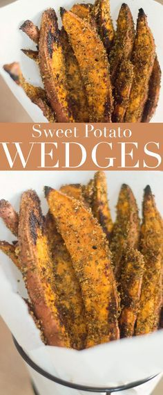 These vegan sweet potato wedges are quick and easy to make. Takes only 5 ingredients and are perfect Side dish, appetizer or snack.  #sweetpotato #wedges #comfortfood #appetizer #healthy #recipes #sidedish #veganfood