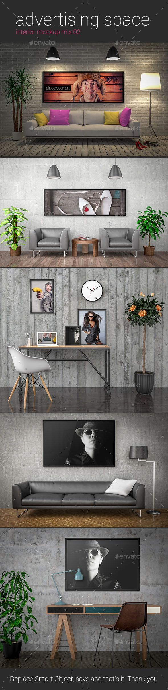 Advertising Space Interior Mockup Mix 02 — Photoshop PSD #couch #photo • Available here → https://graphicriver.net/item/advertising-space-interior-mockup-mix-02/12210125?ref=pxcr