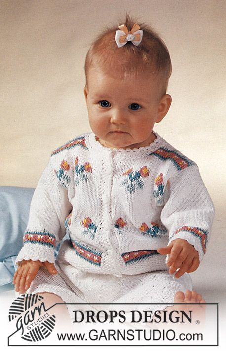 """DROPS jacket with flowers and shorts in """"Safran"""". Size 3 mos. to 3 yrs."""