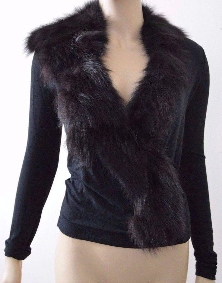 Plein Sud size 40 / 8 Jersey Knit faux wrap Fox Fur panel lined Wool Rayon blend #PleinSud #JerseyKnitFoxFurLinedPanel #EveningOccasion