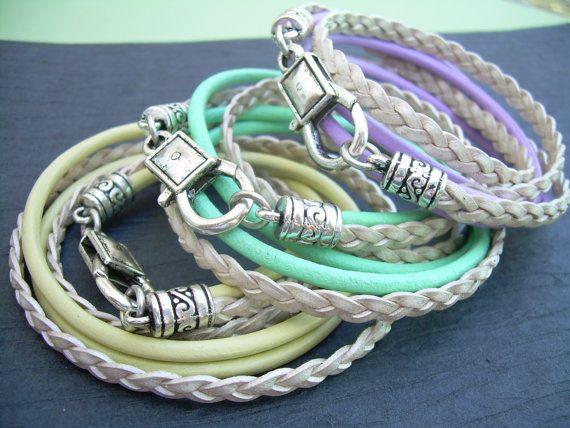 Womens Leather Bracelet Triple Wrap Double by UrbanSurvivalGearUSA, $22.99