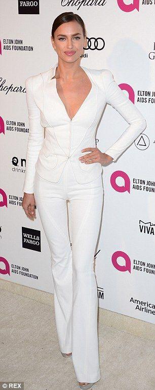 Fresh fashion: Russian-born model Irina Shayk, 29, dressed in a figure-flatting all-white ...