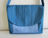 Hints of Blue, Green, Yellow and Cream - Featuring Blue Sparkle Small Flap Bag by kerrianneanderson