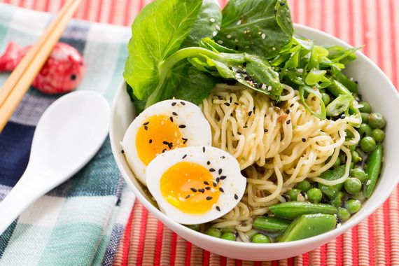 Three Pea & Barley Miso Ramen with Fresh Ramen Noodles & Soft-Boiled Eggs. Visit https://www.blueapron.com/ to receive the ingredients.