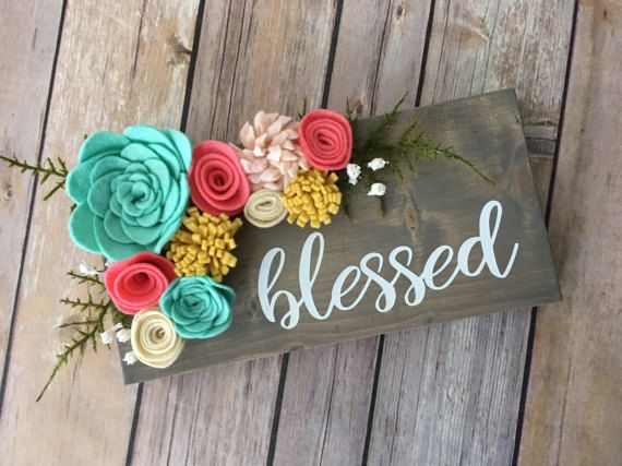 Blessed mini wood sign w/ felt flowers by TheOldWhiteShedIowa