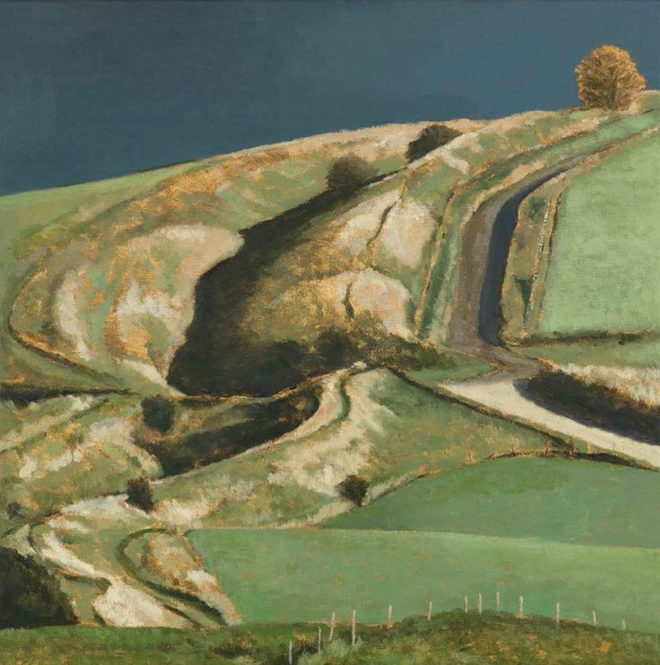Wansdyke III (2015) by David Inshaw. Wansdyke (from Woden's Dyke) is a series of early medieval defensive earthworks running across Somerset-Wiltshire.