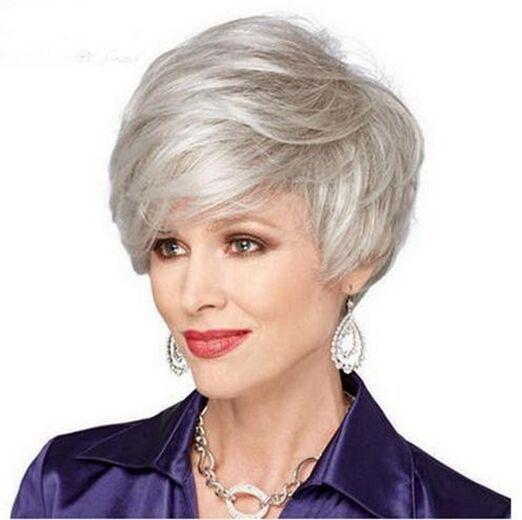 Wie menschliches Haar! NEU Perücken Sexy Ladies Silber-Grau Short Curly Perück…