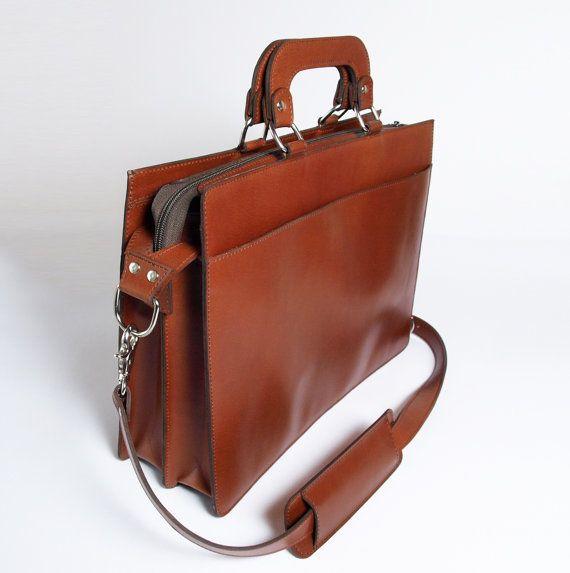 Мужская кожаный портфель Корица коричневый Подлинная от Chellbellding