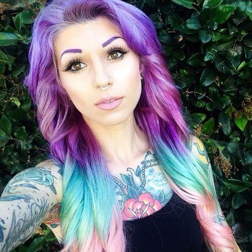 #septum #piercing #hair #multicolored #purple #eyebrows #tattoos