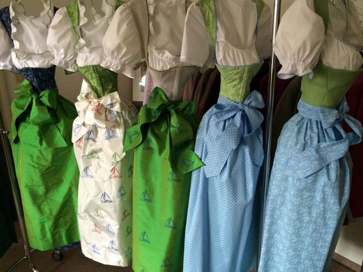 LANZ Dirndl colors 2014: turquoise, dark blue, light blue, red, fuchsia pink to apple green, pine green and bright yellow!