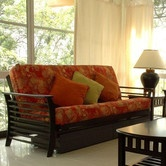 Found it at Wayfair - Dio Convertible Futon  Not sure on the futon cover (though I like orange), but the frame is nice.