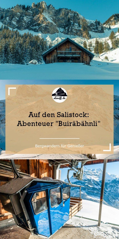 Mit einem rustikalen Buiräbähnli startet die Schneeschuhwanderung auf den Salistock bei Engelberg #schneeschuh #wandern #engelberg #switzerland #hiking