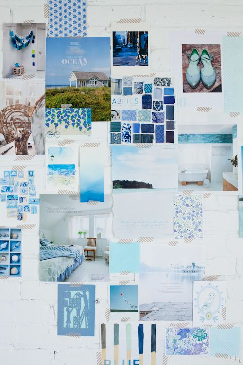 Ocean Blues. Idea for a mood board.  A collection of similar colours on a pinboard can be changed to suit the season or on a whimsey.