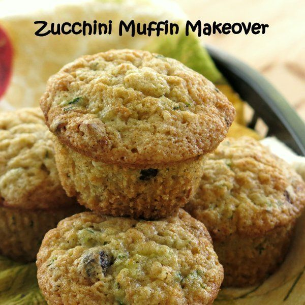 These zucchini muffins got a makeover by swapping out ingredients, like Greek yogurt for oil. But, you won't miss a thing in this tasty recipe. #vegetarian #easyrecipe