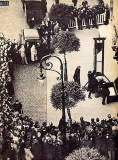 Eugen Weidmann was the last person to be publicly executed in France. He and an accomplice robbed rich tourists. On June 17, 1939 so many people showed up to see the execution, that women ran to dip their handkerchiefs in Eugen's blood. He was beheaded using a guillotine.