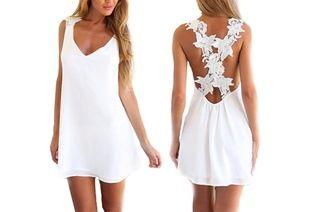 Witte chiffon jurk (51% korting)